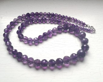 """25"""" Genuine Amethyst Stone Faceted Round Graduated Beaded Necklace 80 grams of Gorgeous Lilac-Purple Beads Back Thennish Vintage"""