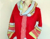 Sweater cardigan hoodie 100% cashemere button up front candy crush colors sz L