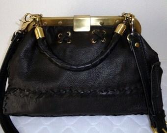 Doctors bag Frame bag  med size cross body bag thick butter soft  New Zealand  Deerskin in  black  rolled handle ,convertible