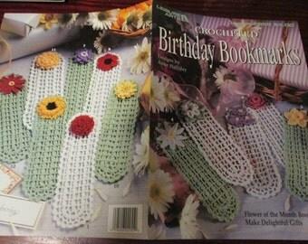 Crocheted Book Marker Patterns Birthday Bookmarks Leisure Arts 2955 Anne Halliday Crochet Pattern Leaflet