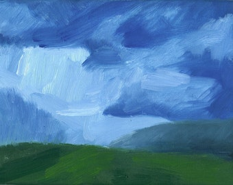 original oil painting landscape on small canvas 6x8 inches Nocturne