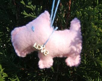 pink scottie dog ornament  - love charm