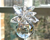 "Crystal Pineapple Sun Catcher for Home Window, Crystal Hanger, Rainbow Maker - Choose From 13 Colors - ""BELLA"" 9"" Long"