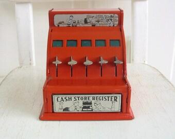 Vintage Toy Cash Register, Red Cash Register, Child Cash Register, Metal Cash Register, Store Register