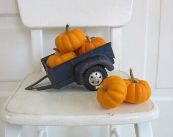 Vintage Metal Toy Truck Trailer, Blue Metal Trailer, Truck Trailer, Halloween Decor, Vintage Halloween