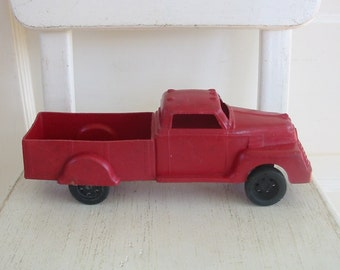 Vintage Red Truck, Toy Truck, Red Pickup Truck, Christmas Decor, Industrial