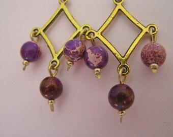 Purple Magnesite Chandelier Earrings, Lavender Chandelier Earrings, Mosaic Magnesite Earrings