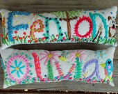 Sold Out for Christmas SIX LETTER Free hand Embroidered Bohemian Name Pillow Made To Order