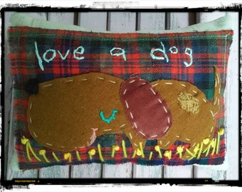 Dog Pillow Mixed Media Hand Embroidered Applique Ready to Ship YelliKelli