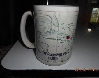Vintage Guantanamo Bay Cuba Large Porcelain Mug with Map