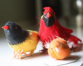 Set of Three Millinery Birds in Reds, Orange and Yellows