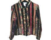 90s Boho Jacket, Velvet Patchwork Jacket, Coldwater Creek Striped Bohemian Jacket Fall Jacket Red Textured Jacket 1990s Jacket Petite L PL