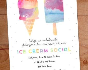 Ice Cream Party Invitation, Watercolor Invitation, Kids Ice Cream Social, Birthday Party Invite, Ice Cream Cone, Popsicle
