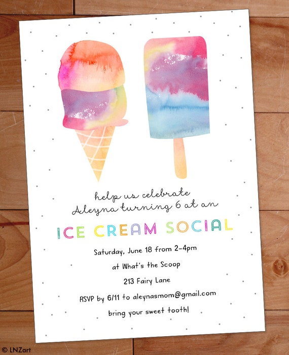 Ice Cream Party Invitation Ice Cream Birthday Party Invite – Ice Cream Party Invitation
