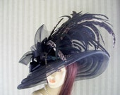 "Black Kentucky Derby Hat,  ""Big 8"" Brim"" Preakness, Victorian, Wedding, Downton Abbey Hat"