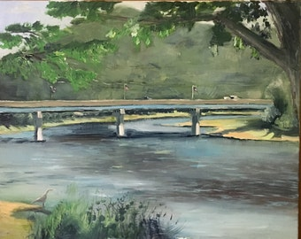 Bridge over the Susquehanna River, Tunkhannock, PA, Original oil painting on canvas