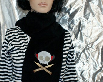 Vampire Dracula Skull Crossbones Embroidered Black Scarf MTCoffinz - Ready to Ship Sample Sale