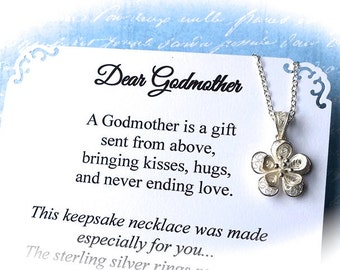 GODMOTHER NECKLACE Godmother Gift Sterling Silver POEM Included To Godmother from Goddaughter Godson Filigree Flower Pendant Gift Boxed