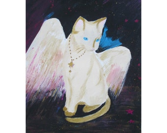 Original Painting * Angel Cat * By Rodriguez * Titled FALLING STARS