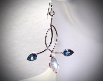 Moonstone and London Blue Topaz Sterling Silver Earrings