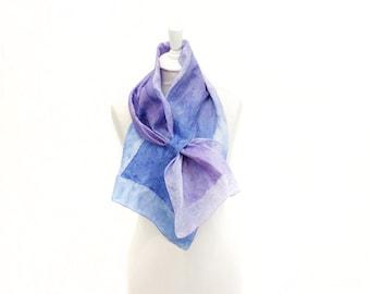 felted scarf, silk scarf, scarflette, accessories,  kate ramsey, fabulousfelt, neckwear, short scarf, neckpiece, small scarf, blue