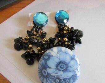 blue flower brooch post