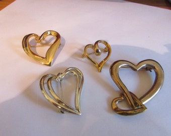 heart brooches set