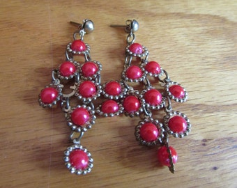 red bead chandelier earrings
