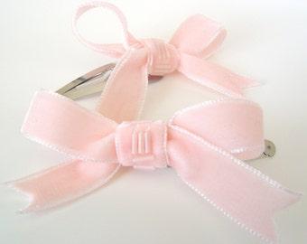 Blush Velvet Bow Hair Clips, Two Beaded Pink Ribbon Hair Clips, Teen Hair Bow Clips, Childrens Snap Hair Clips, Womens Retro Style Hair Clip