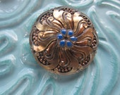 Vintage Style Button - 1 beautiful large, Czech pressed glass hand painted, flower swirl iridescent gold with blue design, (lot C305)