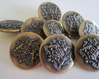 Vintage  Buttons - 8 medium matching, royal lion crested design, very unique bronze metal (lot no.nov 333b)