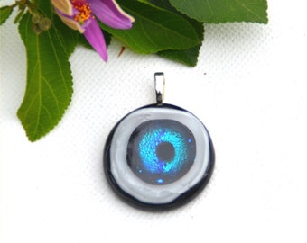 Fused dichroic glass pendant round, blue, white, black, eye