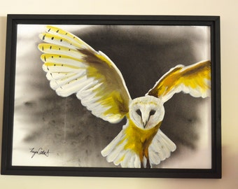 Barn Owl Original Painting, gouache watercolor, large framed art, 22 x 30
