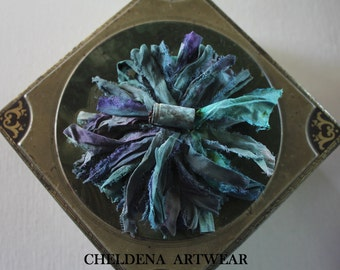 New! Bora Bora Sari Silk Tassel Brooch, Multicolored Turquoise, Hand OX Art Shell, Art Jewelry, BoHo, Handmade, Cheldena Artwear, Cheldena