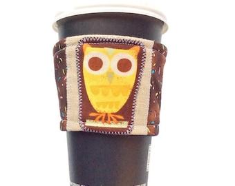 Cute Coffee Cozy, Fabric Cup Cozy, Fabric Coffee Cozy, Fabric Coffee Sleeve, Owl Coffee Sleeve, Owl Coffee Cozy, Teacher Appreciation Gift