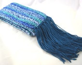 Seascape Wool Blend with bamboo & silk aqua blue and green hand crocheted scarf