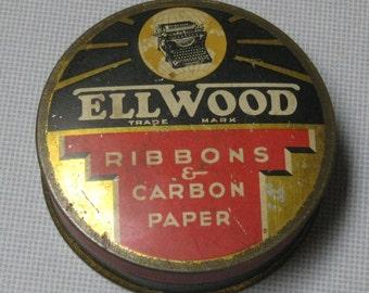 Vintage Ellwood Underwood Elliott Fisher Company Typewriter Ribbon Tin