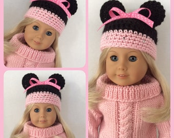 Minnie Style Crochet Hat, Made For American Girl Dolls, Light Pink 18 Inch Doll Clothes