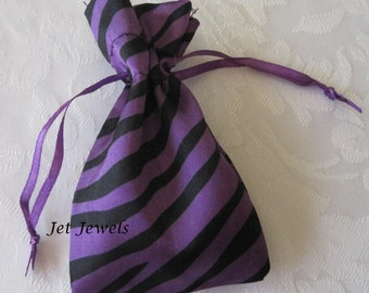 20 Drawstring Bags, Jewelry Gift Bags, Purple Bags, Zebra Animal Print, Small Gift Bags, Satin Bags, Jewelry Pouch, Sachet Bags 3x4