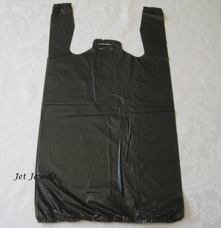 100 plastic bags black bags t shirt bags black tshirt bags for Plastic bags for t shirts