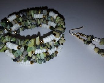 Moss Agate And Seashell Memory Wire Bracelet And Earring Set - OOAK - One size