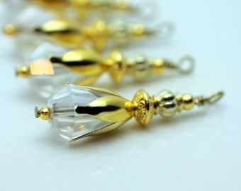 Clear Teardrop Crystal Bead Dangle Charm Pendant Drop Set with Gold, Pendant, Earring Dangles, Charm