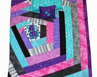 18 Inch Doll Bedding Set for 18 Inch Dolls, Doll Quilt featuring fun, bright prints and an aqua and purple applique puppy