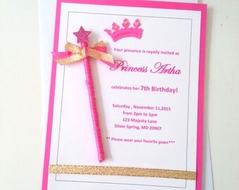 Princess Invitation, Princess Birthday Invitation, Princess handmade Birthday Invite, Princess party Invitation, Princess Birthday Invite