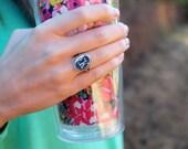 Sorority Monogram Ring-Vertical Oval, monogram ring, vertical monogram ring, personalized ring, personalized jewelry