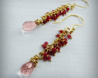 Ruby and Pink Sapphire Drop Earrings - 24k Gold Gemstone Earrings -  BOHO Chic - Rubies  and Pink Sapphire - Haute Fashion - READY to Ship