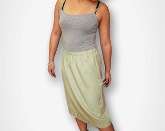 Vintage Green Linen Mid-Length Skirt 1960s