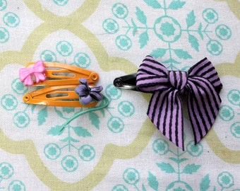3 baby snap clips,pink bow,violet flower, purple bow,bow snap clip,violet snap clip,bow snap clip,stocking stuffers,delicate snap clip