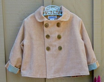 Size 3 Brown Corduroy Double Breasted Childs Jacket Coat