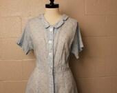 Vintage 1950's Blue White Plaid Shirtwaist Dress Plus XL